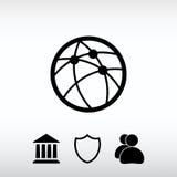 Σφαιρική τεχνολογία ή κοινωνικό εικονίδιο δικτύων, διανυσματική απεικόνιση Στοκ εικόνα με δικαίωμα ελεύθερης χρήσης