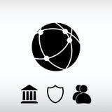 Σφαιρική τεχνολογία ή κοινωνικό εικονίδιο δικτύων, διανυσματική απεικόνιση φ Στοκ Φωτογραφίες