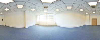 Σφαιρικοί 360 βαθμοί προβολής πανοράματος, πανόραμα στο εσωτερικό κενό δωμάτιο στα σύγχρονα επίπεδα διαμερίσματα Στοκ Φωτογραφίες