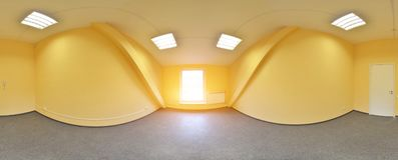 Σφαιρικοί 360 βαθμοί προβολής πανοράματος, πανόραμα στο εσωτερικό κενό δωμάτιο στα σύγχρονα επίπεδα διαμερίσματα Στοκ Εικόνα