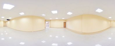 Σφαιρικοί 360 βαθμοί προβολής πανοράματος, πανόραμα στο εσωτερικό κενό δωμάτιο στα σύγχρονα επίπεδα διαμερίσματα Στοκ εικόνες με δικαίωμα ελεύθερης χρήσης