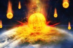 Σφαιρικό ατύχημα - σύγκρουση asteroid με τη γη στοκ εικόνες με δικαίωμα ελεύθερης χρήσης