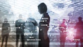 Σφαιρικό αφηρημένο υπόβαθρο αεροπορίας με τα αεροπλάνα και τα ονόματα πόλεων σε έναν χάρτη Έννοια μεταφορών επιχειρησιακού ταξιδι στοκ φωτογραφία με δικαίωμα ελεύθερης χρήσης