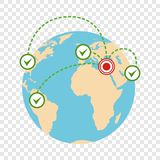 Σφαιρικό εικονίδιο μετανάστευσης, επίπεδο ύφος ελεύθερη απεικόνιση δικαιώματος