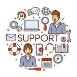 Σφαιρικό σχέδιο έννοιας τεχνικής υποστήριξης διανυσματικό με την τηλεφωνικό το βοηθητικό υπηρεσία ή τηλεφωνικό κέντρο βοήθειας πε Στοκ Εικόνες