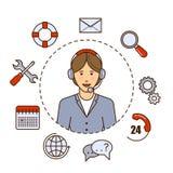 Σφαιρικό σχέδιο έννοιας τεχνικής υποστήριξης διανυσματικό με το χειριστή υποστήριξης γυναικών Επίπεδη απεικόνιση περιλήψεων troub Στοκ Εικόνες