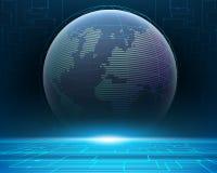 Σφαιρικό σύστημα δικτύων πληροφοριών παγκόσμιου bigdata Wireframe διανυσματική απεικόνιση