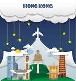 Σφαιρικό ταξίδι και ταξίδι Ι ορόσημων υποβάθρου ταξιδιού του Χογκ Κογκ Στοκ Φωτογραφία