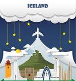 Σφαιρικό ταξίδι και ταξίδι INF ορόσημων υποβάθρου ταξιδιού της Ισλανδίας Στοκ φωτογραφίες με δικαίωμα ελεύθερης χρήσης