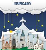 Σφαιρικό ταξίδι και ταξίδι INF ορόσημων υποβάθρου ταξιδιού της Ουγγαρίας Στοκ εικόνες με δικαίωμα ελεύθερης χρήσης