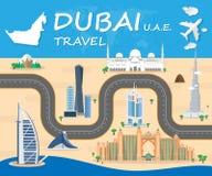 Σφαιρικό ταξίδι και ταξίδι Infographic η διανυσματική Desi ορόσημων του Ντουμπάι Στοκ φωτογραφία με δικαίωμα ελεύθερης χρήσης