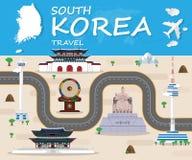 Σφαιρικό ταξίδι και ταξίδι Infographic ορόσημων Δημοκρατίας της Κορέας Στοκ Εικόνες