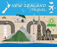 Σφαιρικό ταξίδι και ταξίδι Infographic ορόσημων της Νέας Ζηλανδίας Στοκ εικόνες με δικαίωμα ελεύθερης χρήσης
