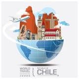 Σφαιρικό ταξίδι και ταξίδι Infographic ορόσημων της Χιλής διανυσματική απεικόνιση