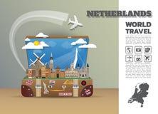 Σφαιρικό ταξίδι και ταξίδι Infographic ορόσημων Netherland luggag Στοκ φωτογραφία με δικαίωμα ελεύθερης χρήσης