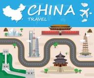 Σφαιρικό ταξίδι ορόσημων της Κίνας και φυλλάδιο Infographic ταξιδιών Β Στοκ Εικόνες