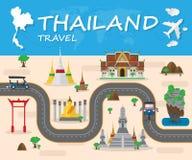Σφαιρικό ταξίδι ορόσημων της Ταϊλάνδης και φυλλάδιο Infographic ταξιδιών Στοκ φωτογραφία με δικαίωμα ελεύθερης χρήσης