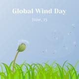 Σφαιρικό υπόβαθρο ημέρας αέρα με το ρολόι χλόης και πικραλίδων στο ύφος κινούμενων σχεδίων Διανυσματική απεικόνιση για σας σχέδιο Στοκ Φωτογραφία