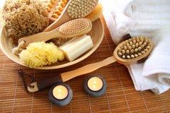 σφουγγάρια μπαμπού brushes mat soap spa Στοκ φωτογραφία με δικαίωμα ελεύθερης χρήσης