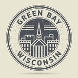 Σφραγίδα ή ετικέτα Grunge με το Green Bay κειμένων, Ουισκόνσιν απεικόνιση αποθεμάτων
