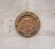 Σφραγίδα στο Υπουργείο Οικονομικών που χτίζει το Washington DC Στοκ Φωτογραφίες