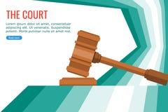 Σφυρί δικαστών στο δικαστήριο διανυσματική απεικόνιση