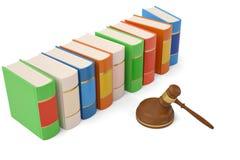 Σφυρί και βιβλία δημοπρασίας στο άσπρο υπόβαθρο τρισδιάστατη απεικόνιση διανυσματική απεικόνιση