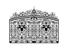 σφυρηλατημένη πύλη αρχιτεκτονική πίσω από την κλασσική όψη μαξιλαριών λεπτομέρειας στοκ φωτογραφίες με δικαίωμα ελεύθερης χρήσης