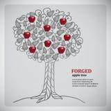 Σφυρηλατημένο metall δέντρο με τα κόκκινα μήλα απεικόνιση αποθεμάτων