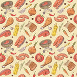 Σχάρα και συρμένο χέρι άνευ ραφής υπόβαθρο σχαρών με την μπριζόλα, το κρέας, τα ψάρια και τα λαχανικά Σχέδιο κόμματος πικ-νίκ απεικόνιση αποθεμάτων