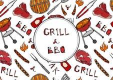 Σχάρα και BBQ εγγραφή Άνευ ραφής σχέδιο θερινό BBQ του κόμματος σχαρών Μπριζόλα, λουκάνικο, πλέγμα σχαρών, λαβίδες, δίκρανο, πυρκ απεικόνιση αποθεμάτων
