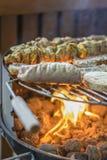 Σχάρα κρέατος στο πεζούλι Στοκ Εικόνες