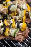 Σχάρα με το εύγευστο ψημένο στη σχάρα κρέας και λαχανικό στη σχάρα Στοκ Εικόνες