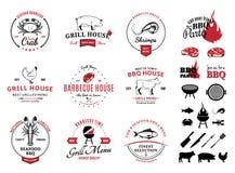 Σχάρα, λογότυπα θαλασσινών, ετικέτες και στοιχεία σχεδίου Στοκ φωτογραφία με δικαίωμα ελεύθερης χρήσης