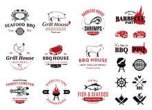 Σχάρα, λογότυπα θαλασσινών, ετικέτες και στοιχεία σχεδίου Στοκ Εικόνες