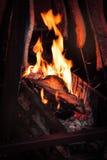 Σχάρα πυρκαγιάς σχαρών με το μαγείρεμα των ψαριών σολομών Στοκ εικόνες με δικαίωμα ελεύθερης χρήσης