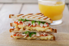 Σχάρα σάντουιτς φρυγανιάς με την ντομάτα Στοκ φωτογραφίες με δικαίωμα ελεύθερης χρήσης