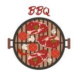 Σχάρα σχαρών με το κρέας και τα λαχανικά r απεικόνιση αποθεμάτων