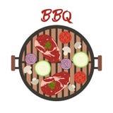 Σχάρα σχαρών με το κρέας και τα λαχανικά r ελεύθερη απεικόνιση δικαιώματος