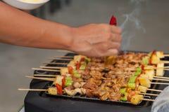 Σχάρα σχαρών με το κρέας χοιρινού κρέατος Στοκ Φωτογραφία