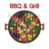 Σχάρα σχαρών με το kebab και τα λαχανικά r απεικόνιση αποθεμάτων