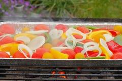 Σχάρα, τηγάνι σχαρών, λαχανικά, ντομάτες, πιπέρια, δαχτυλίδια κρεμμυδιών Στοκ φωτογραφία με δικαίωμα ελεύθερης χρήσης