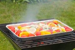 Σχάρα, τηγάνι σχαρών, λαχανικά, ντομάτες, πιπέρια, δαχτυλίδια κρεμμυδιών Στοκ Φωτογραφίες