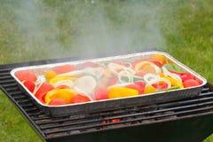 Σχάρα, τηγάνι σχαρών, λαχανικά, ντομάτες, πιπέρια, δαχτυλίδια κρεμμυδιών Στοκ Εικόνες