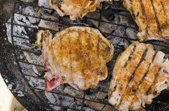 Σχάρα φρέσκου κρέατος, κινηματογράφηση σε πρώτο πλάνο σχαρών Στοκ Φωτογραφίες
