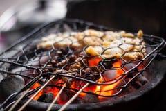 Σχάρα sate και tempe στην εικονική παραδοσιακή angkringan φωτογραφία τροφίμων που λαμβάνεται στο yogyakarta Ινδονησία jogja Στοκ Φωτογραφία