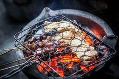 Σχάρα sate και tempe στην εικονική παραδοσιακή angkringan φωτογραφία τροφίμων που λαμβάνεται στο yogyakarta Ινδονησία jogja Στοκ εικόνες με δικαίωμα ελεύθερης χρήσης
