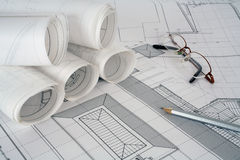 σχέδια αρχιτεκτόνων Στοκ φωτογραφία με δικαίωμα ελεύθερης χρήσης