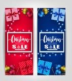 Σχέδια αφισών ή ετικεττών πώλησης διακοπών Χριστουγέννων που τίθενται με το τρισδιάστατο πλαίσιο, δώρα Στοκ Φωτογραφίες