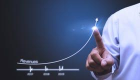 Σχέδια για να αυξήσει την επιχειρησιακή αύξηση και μια αύξηση στους δείκτες της θετικής αύξησης το 2019 στοκ φωτογραφίες